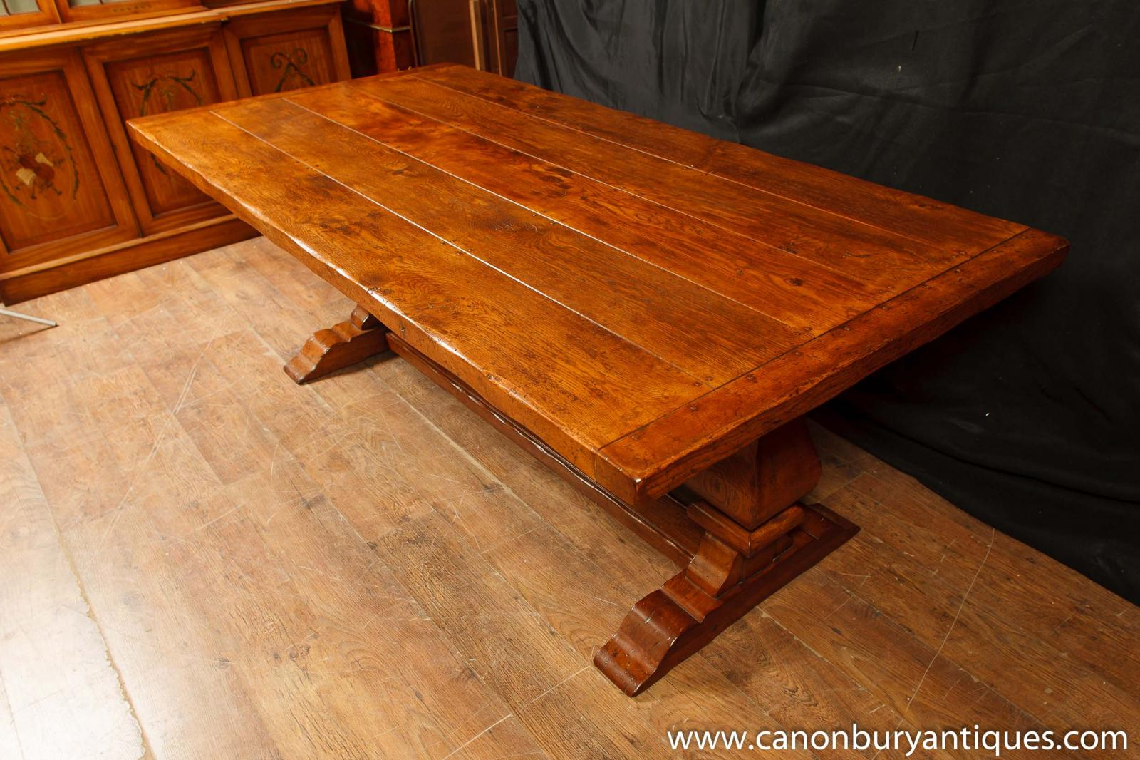 Oak dining table kitchen farmhouse refectory tables ebay for 65 farmhouse table