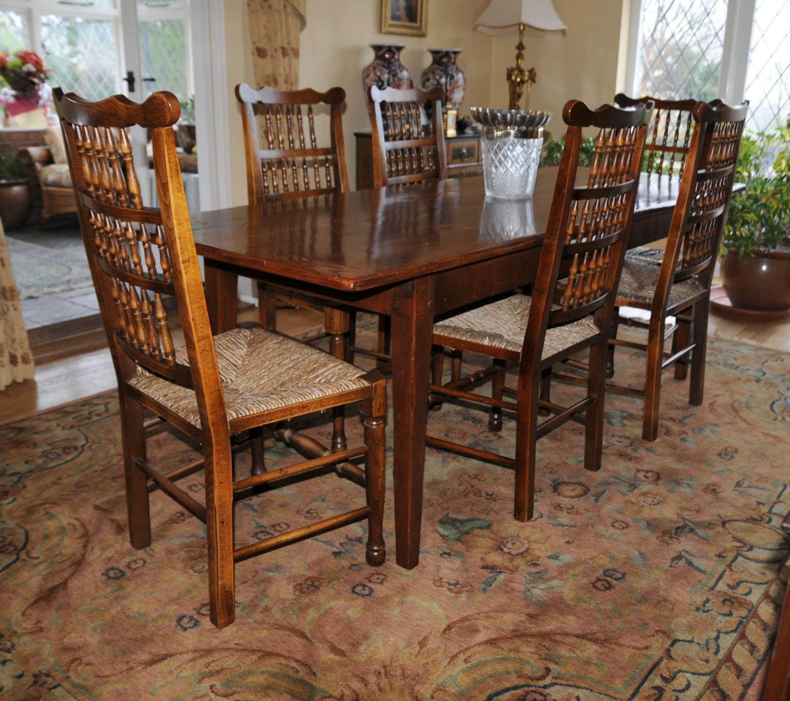 Oak Kitchen Table Set: Oak Kitchen Dining Set Refectory Table Spindleback Chairs Set