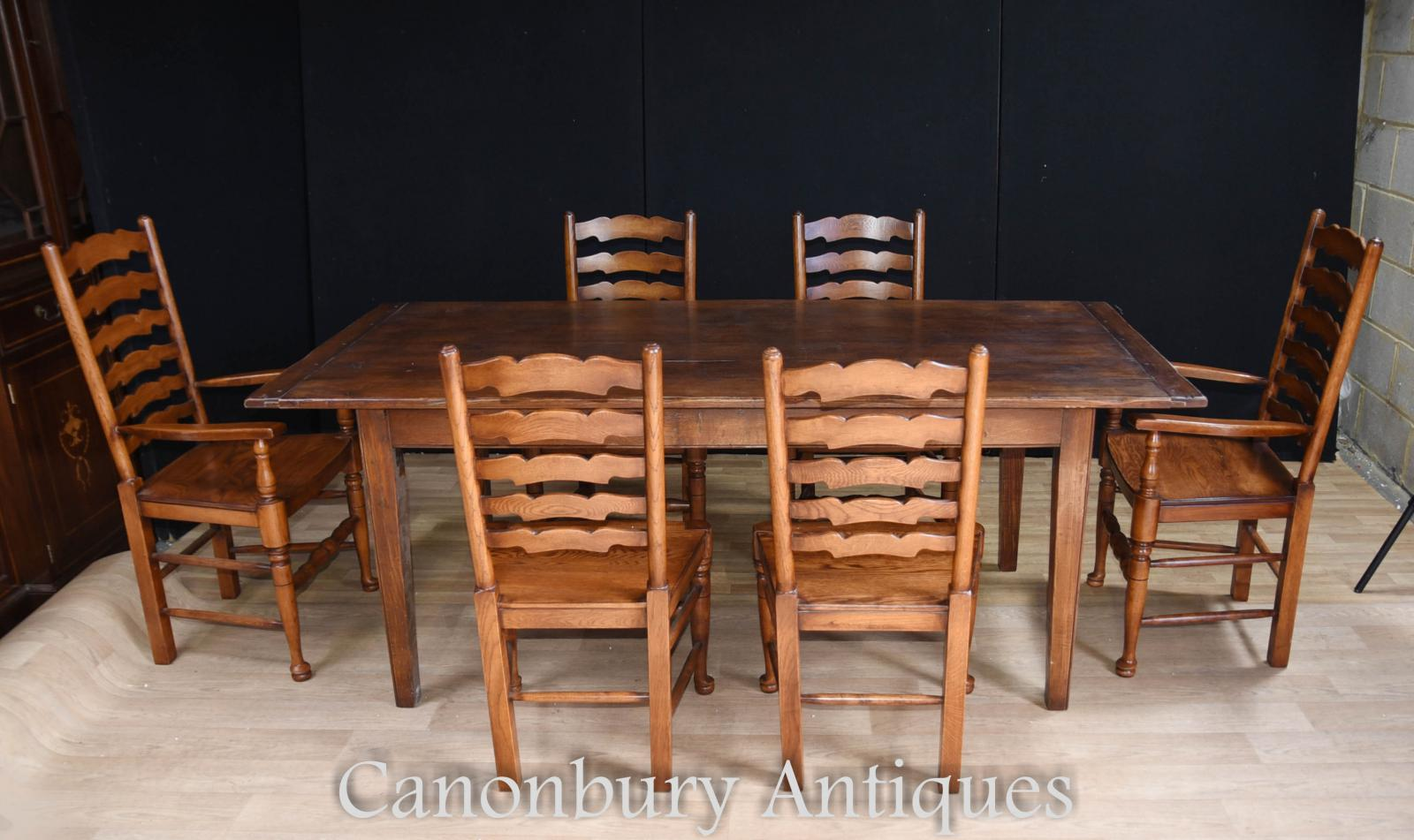 Oak Refectory Table Set 6 Ladderback Chairs Farmhouse Dining