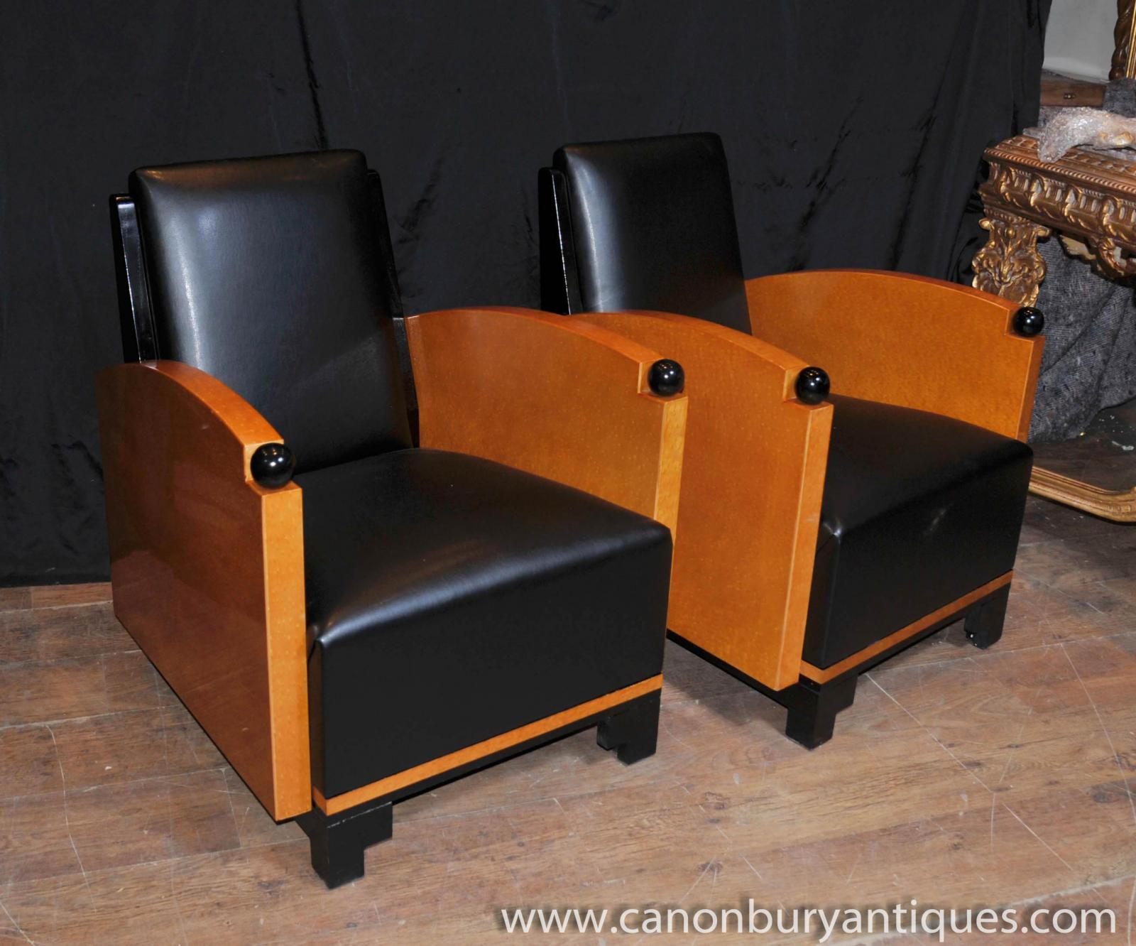 Pair Art Deco Club Chairs Arm Biedermeier Sofa EBay