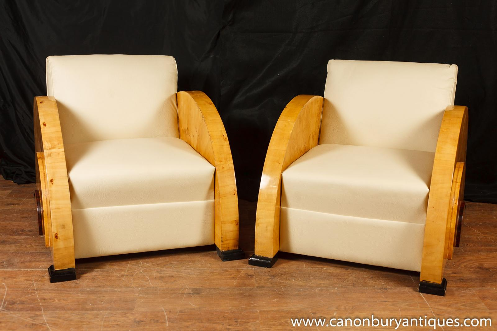 Pair Art Deco Club Chairs Blonde Walnut Seat 1920s