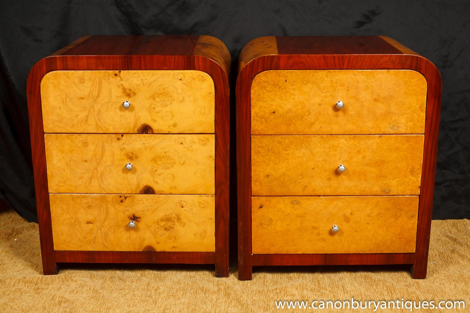 pair art deco nighstands bedside chests chest drawers