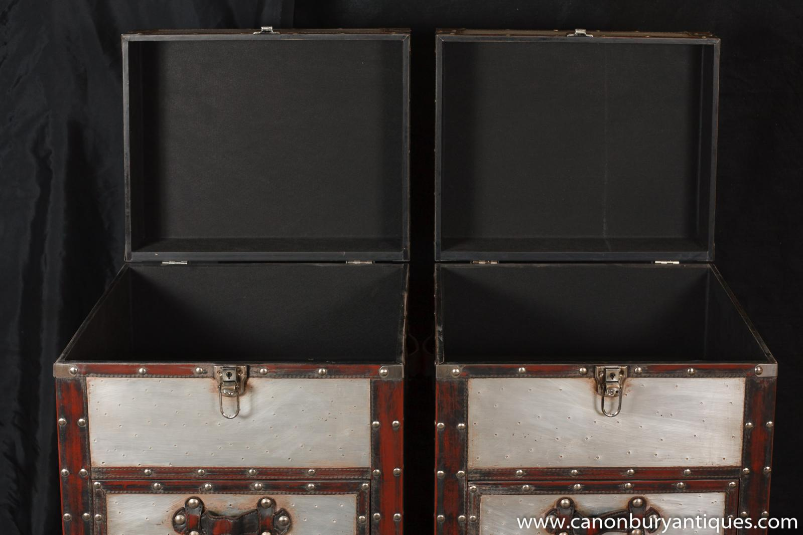 Luggage With Drawers Pair Campaign Industrial Nightstands Chest Drawers Bedside Tables
