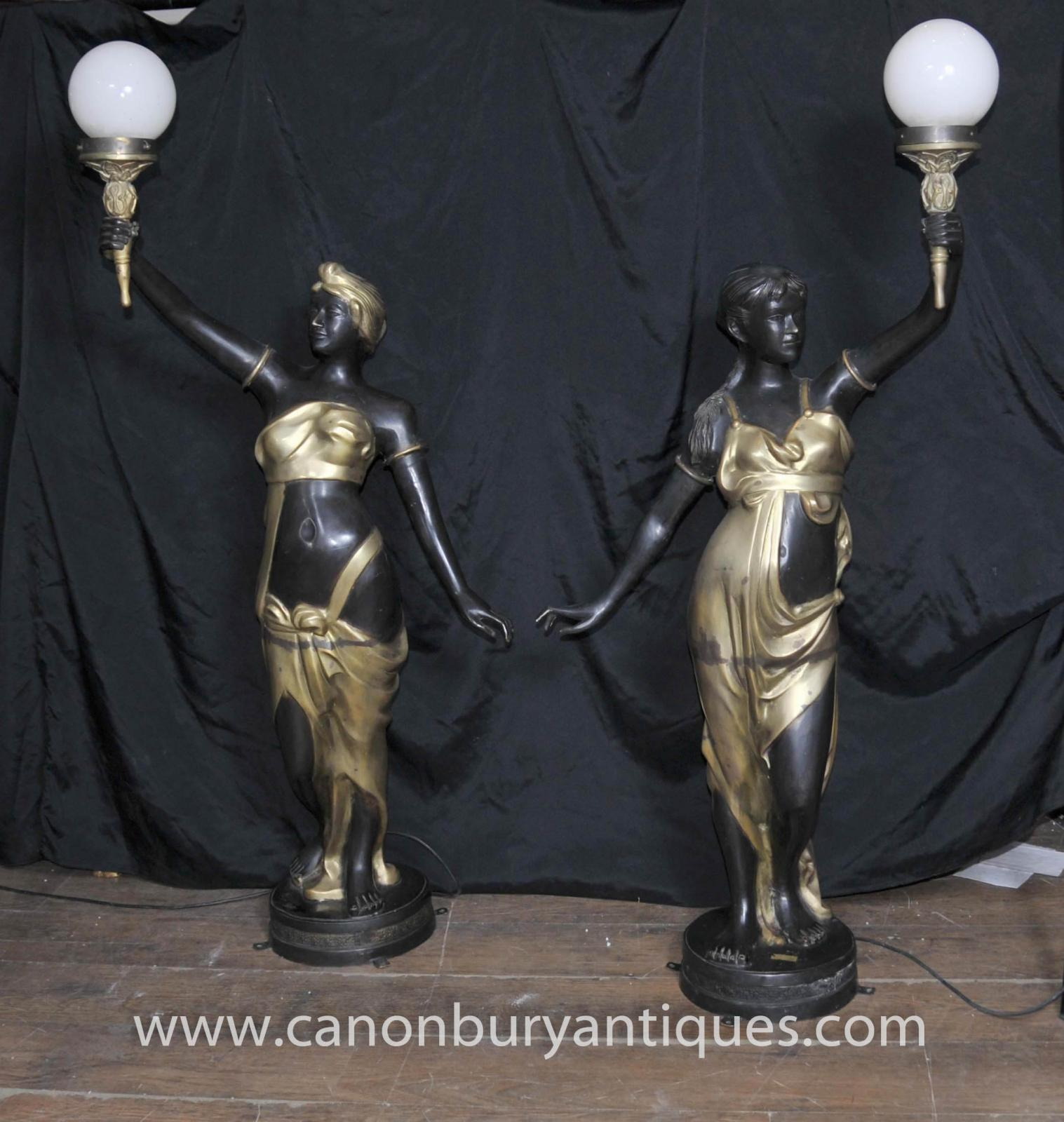 pair french art nouveau bronze female figurine lamps candelabras torcheres ebay. Black Bedroom Furniture Sets. Home Design Ideas