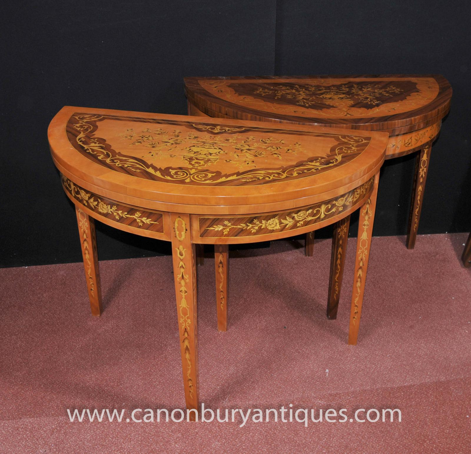 Pair french empire demi lune console tables contra inlay for Table demi lune extensible