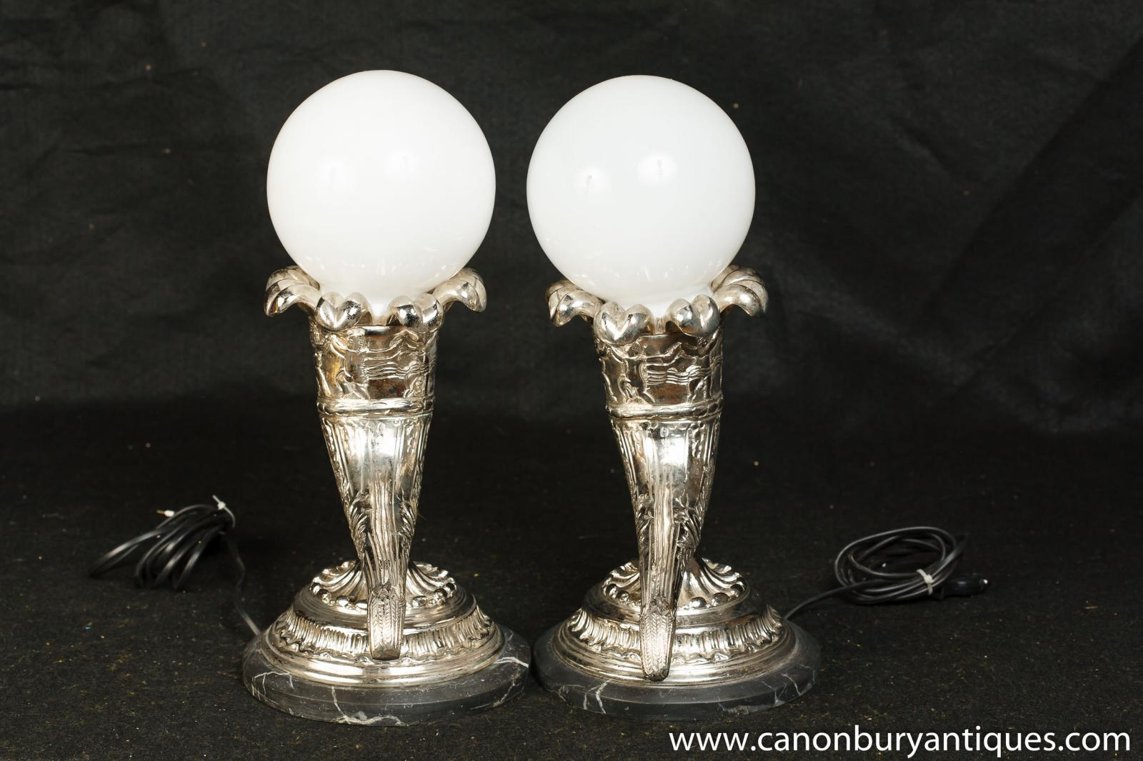 Pair French Silver Plate Horn Cornucopia Lamps Table