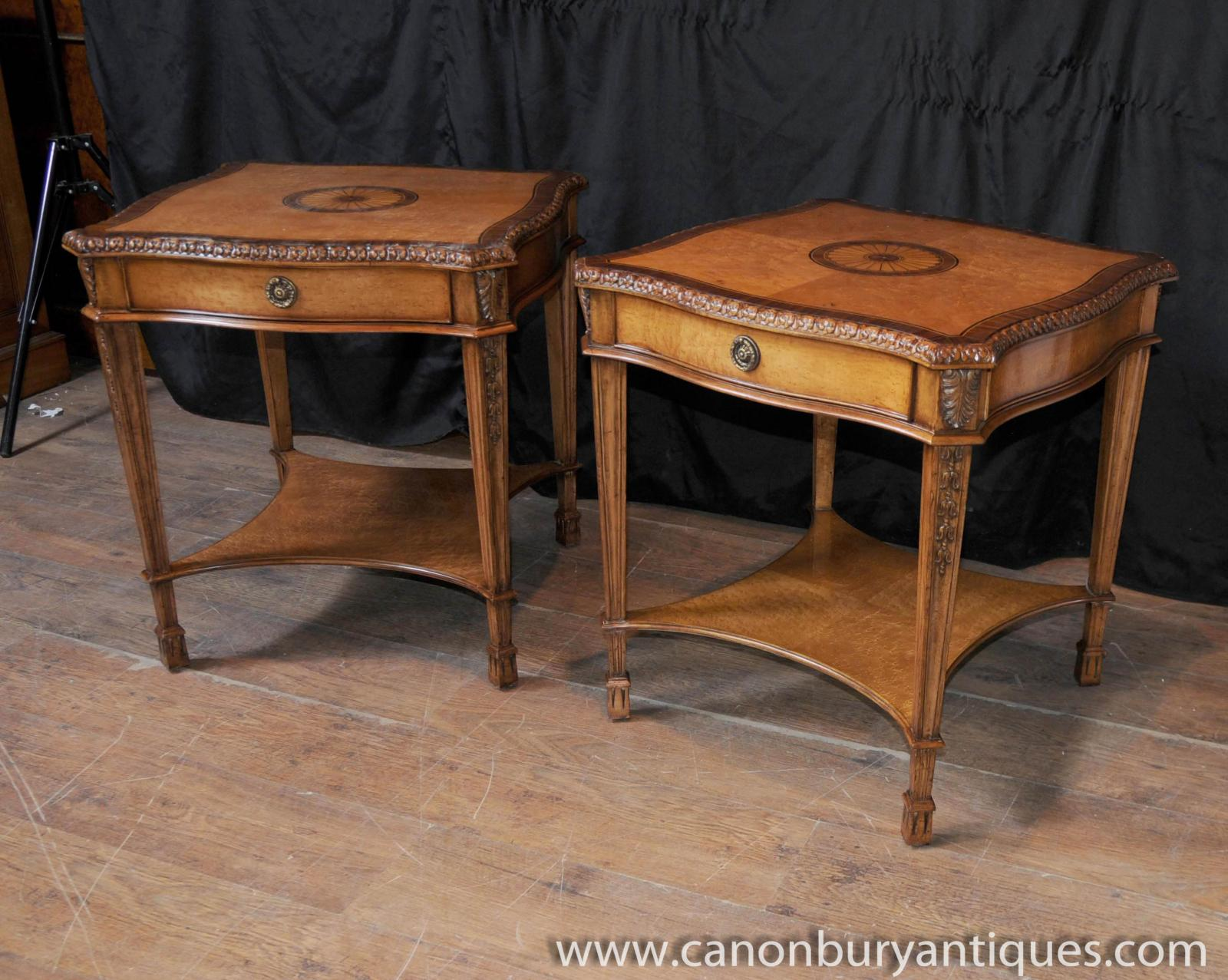Pair George Ii Satinwood Side Tables Occasional Cocktail