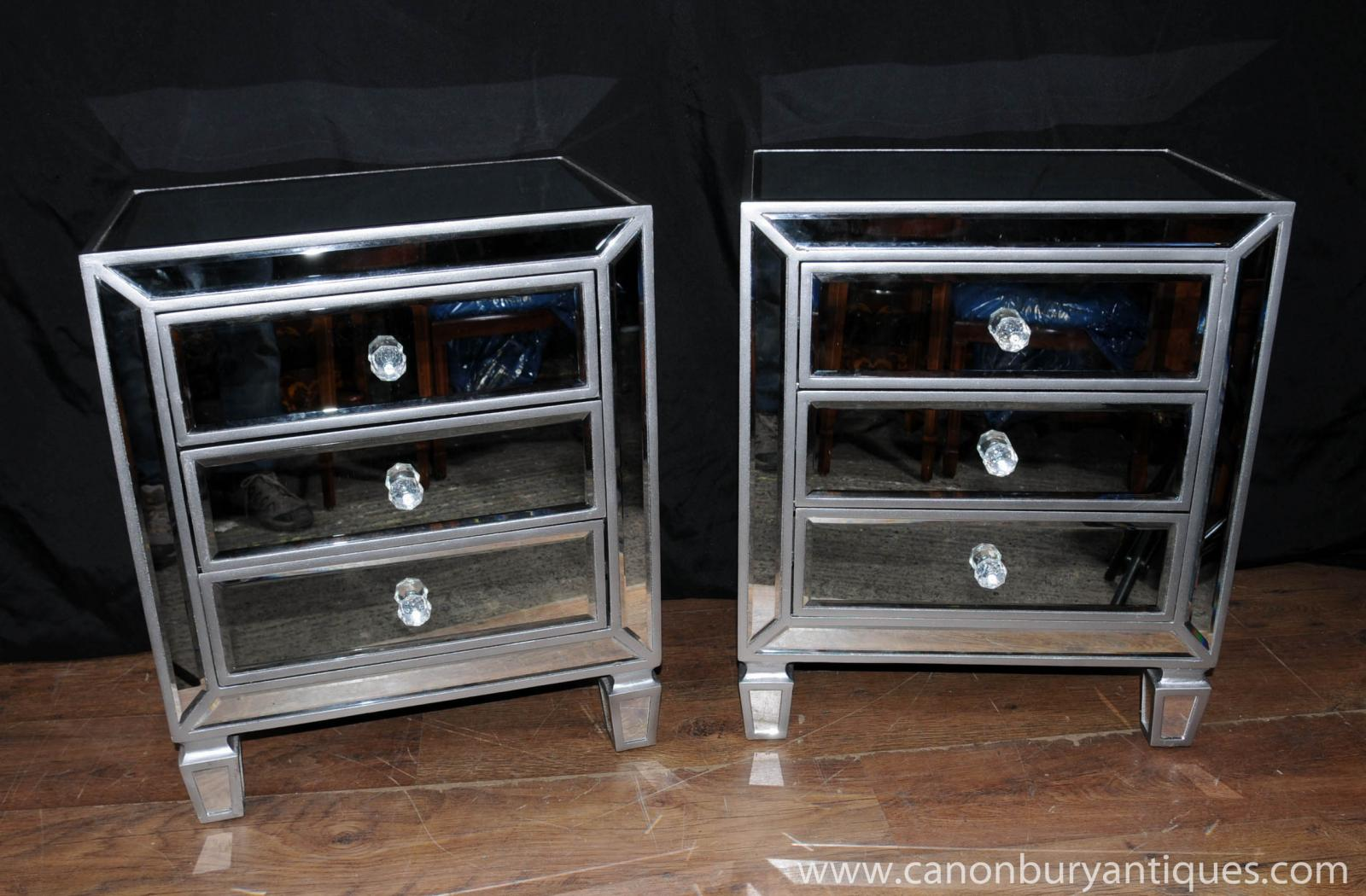 Pair mirrored bedside chests nightstands chest drawers for Bedroom furniture night stands