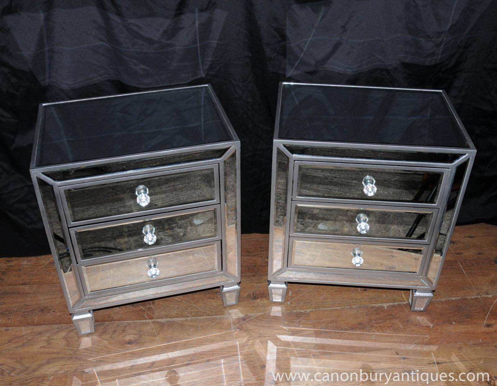 Pair Mirrored Bedside Chests Nightstands Chest Drawers