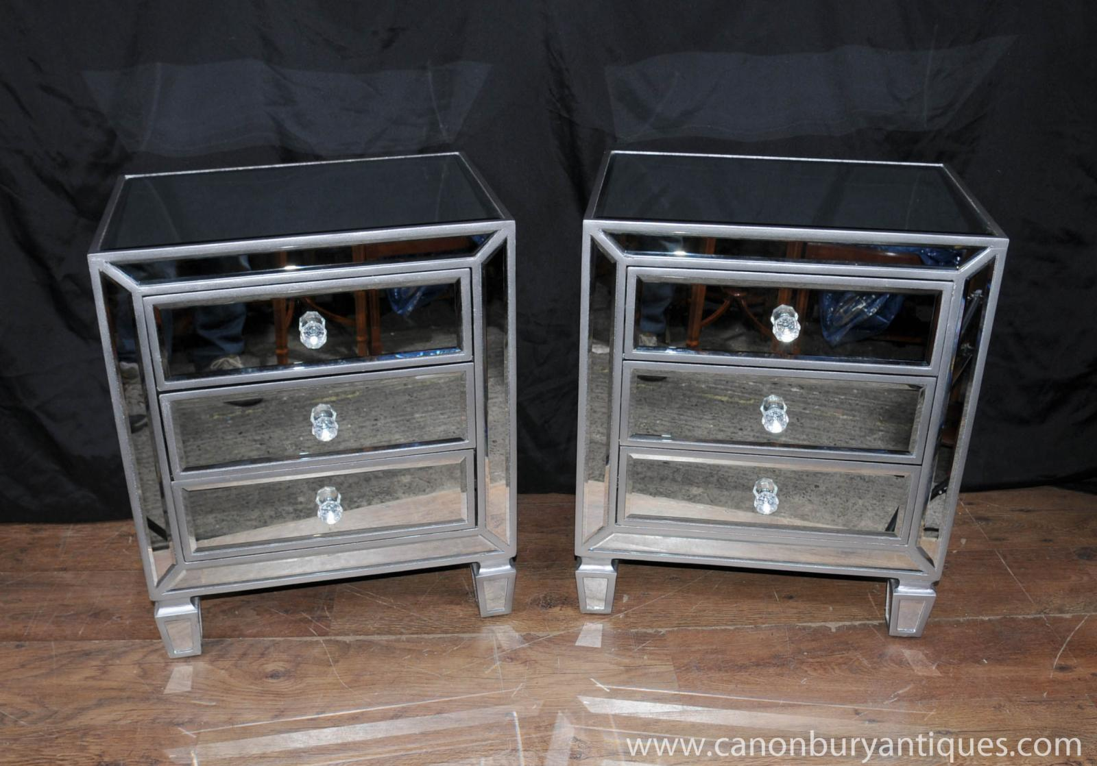 Pair mirrored bedside chests nightstands chest drawers for Deco 3 miroirs