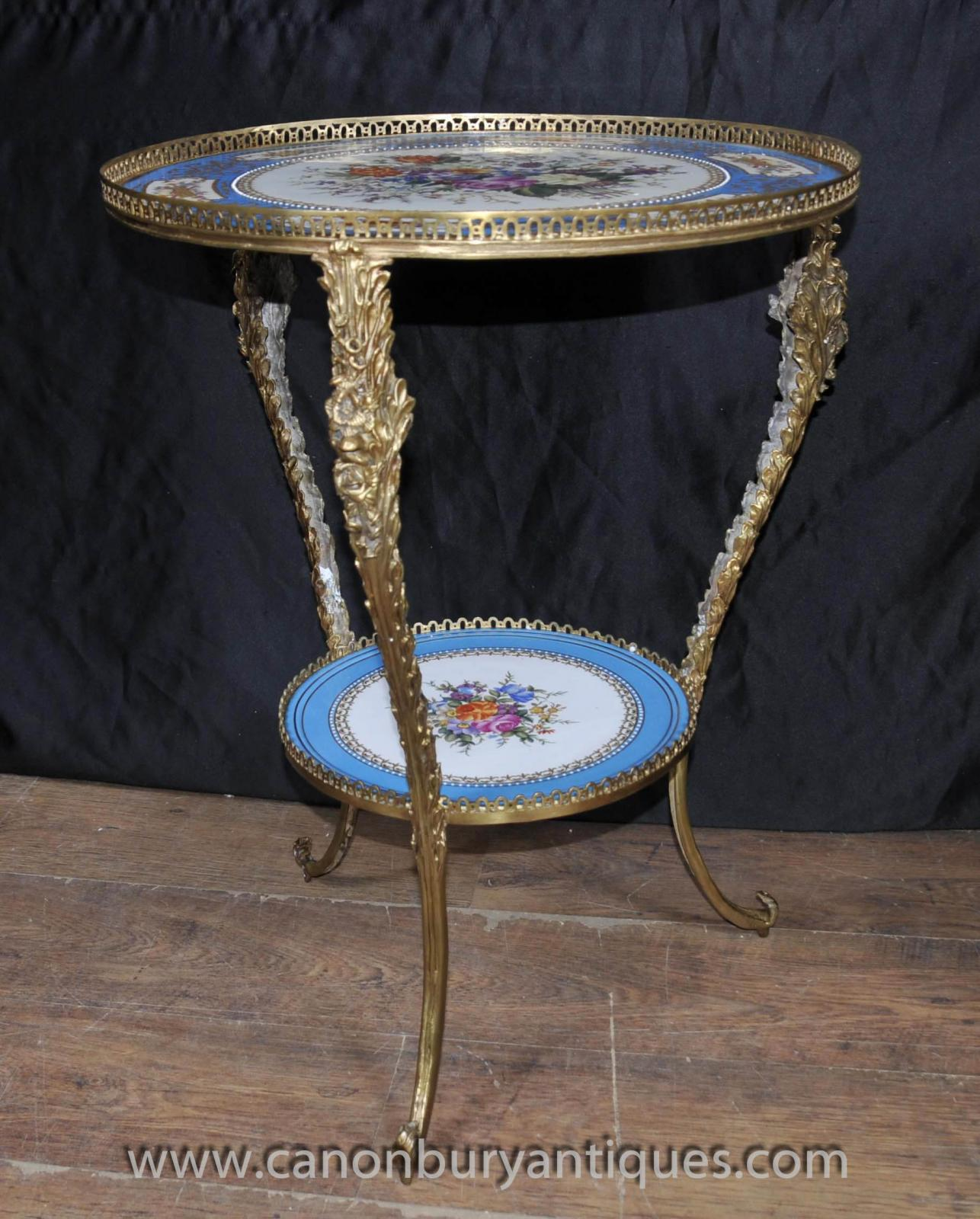 Round Coffee Table Pair: Pair Sevres French Porcelain Cocktail Tables Side Table