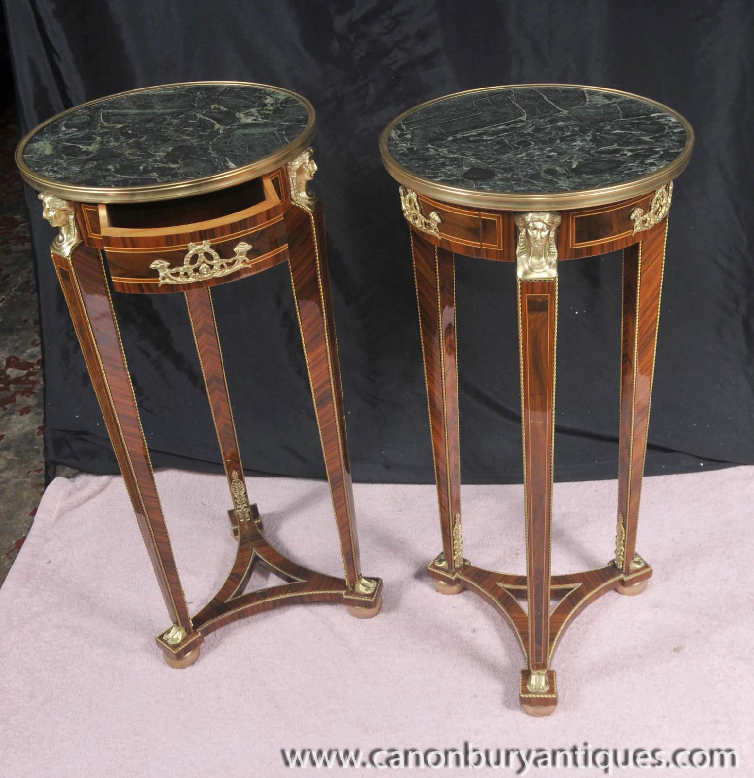 Details about Pair Tall Empire Pedestal Tables Stands Side Table