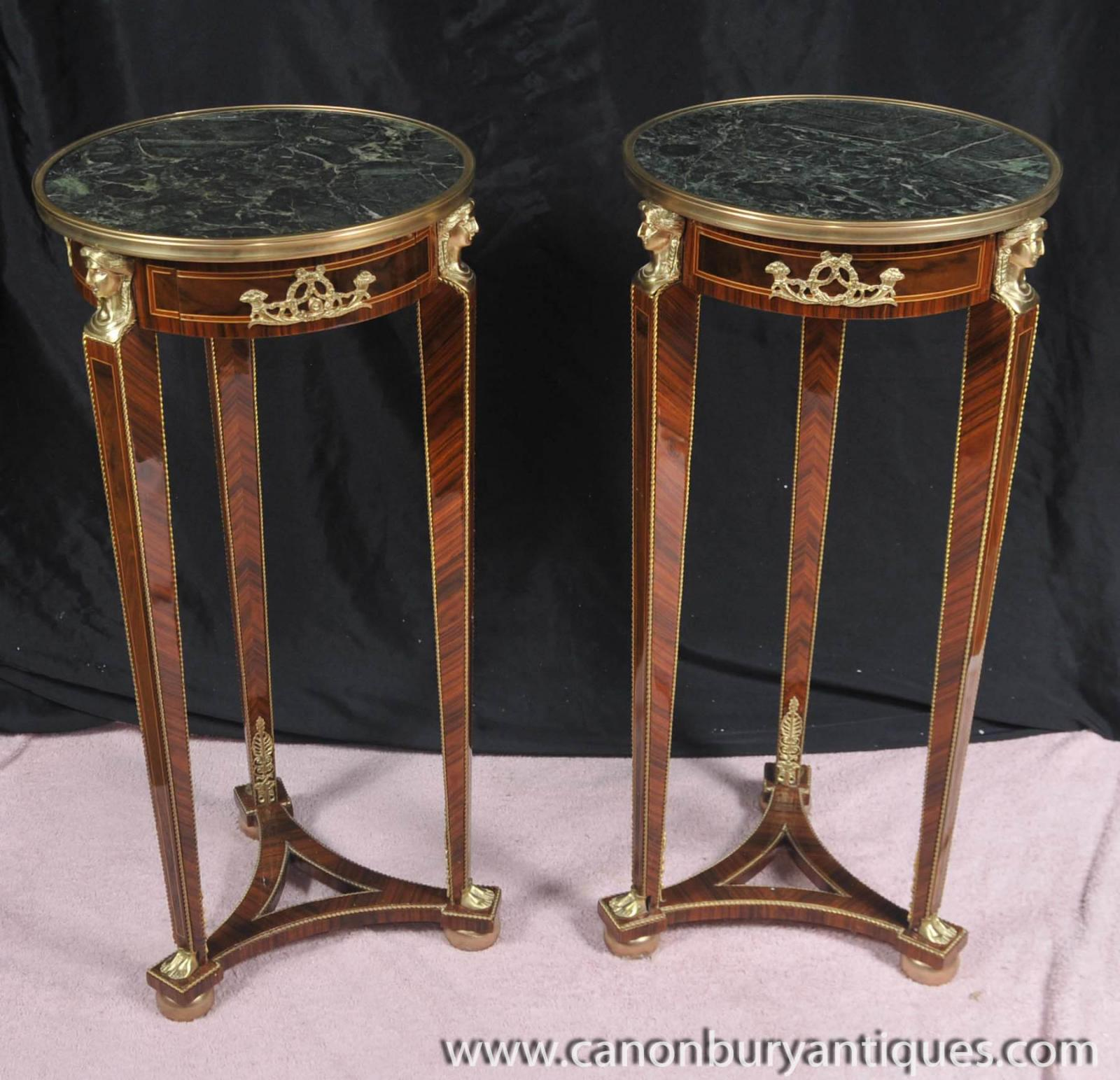 Pair Tall Empire Pedestal Tables Stands Side Table Ebay