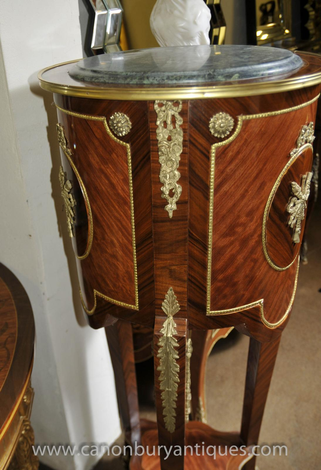 pair tall french empire pedestal side tables kingwood ebay. Black Bedroom Furniture Sets. Home Design Ideas