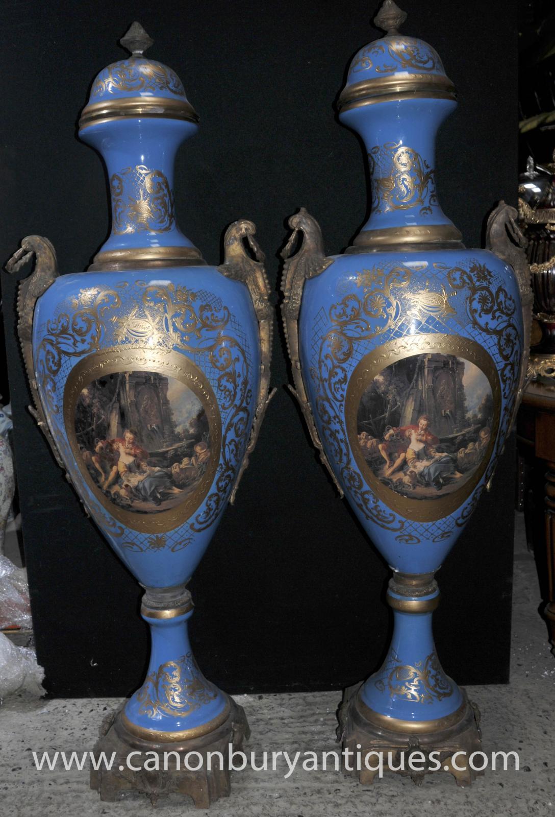 Pair Xl French Sevres Porcelain Amphora Vases Urns