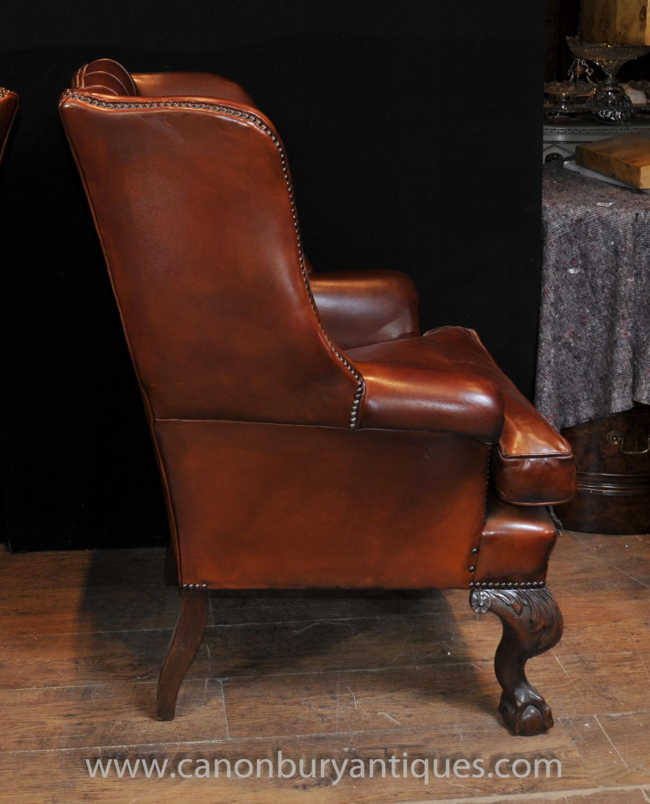 Pair Antique English Wingback Chesterfield Arm Chairs ...