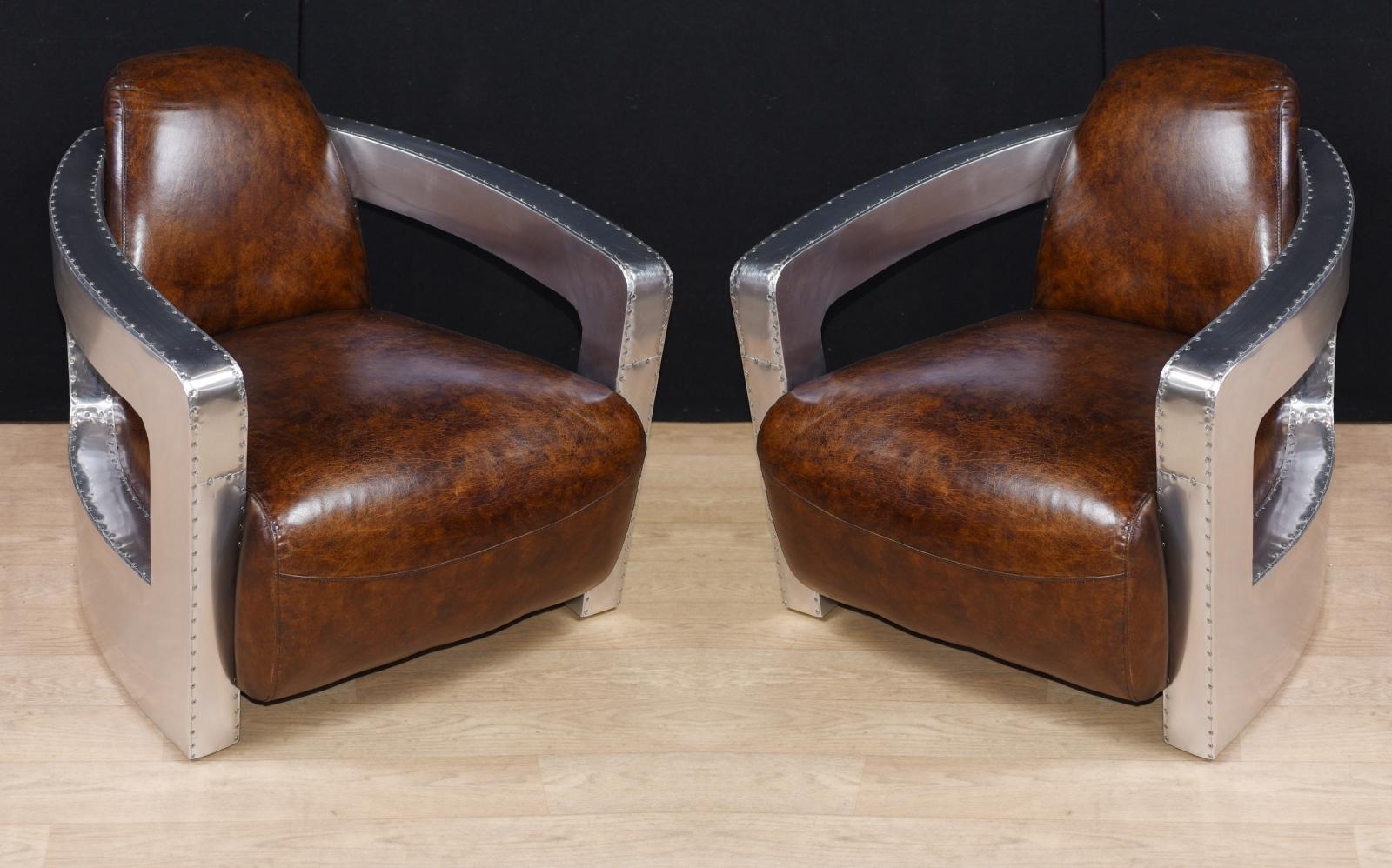 pair aviator art deco club chairs chrome leather arm ebay. Black Bedroom Furniture Sets. Home Design Ideas