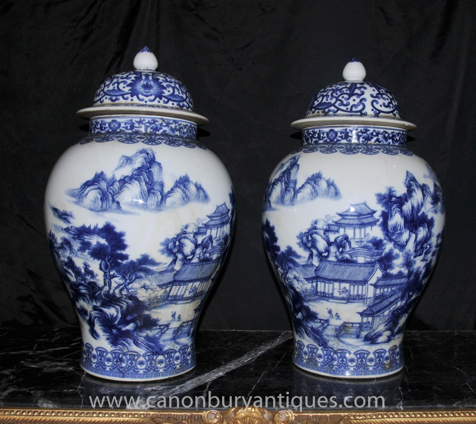 pair blue and white ming porcelain ginger urns vases jars. Black Bedroom Furniture Sets. Home Design Ideas