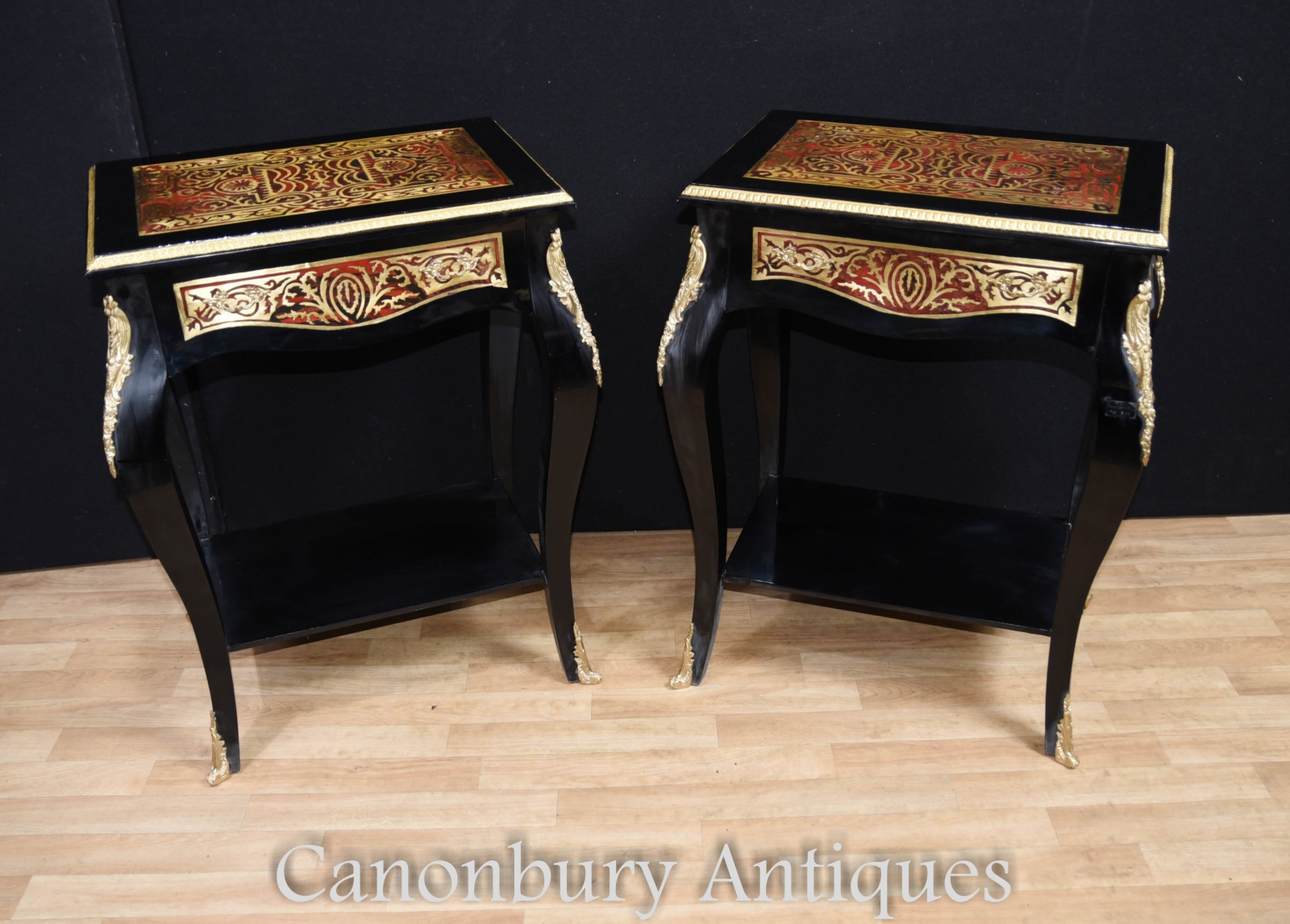 Details About Pair Boulle Side Tail Tables Buhul French Louis Xv Furniture