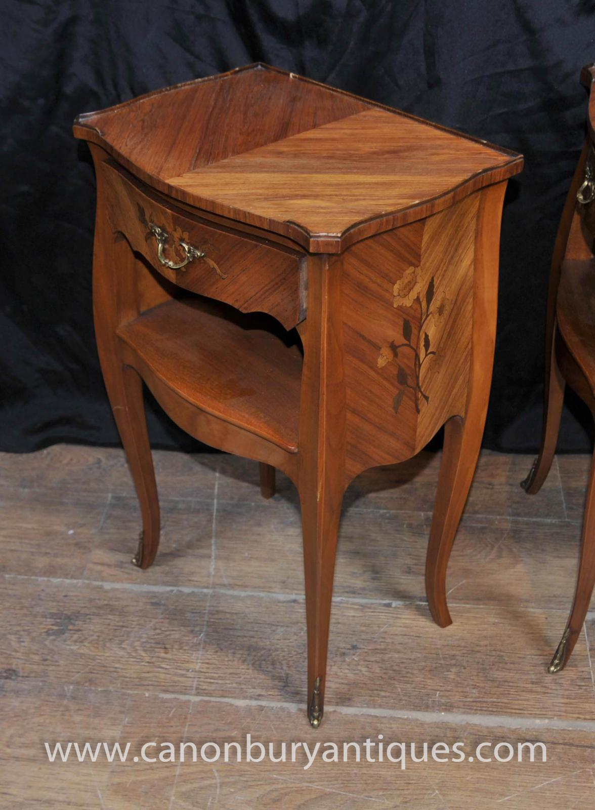 Pair empire bedside tables in kingwood french nightstands for French nightstand bedside table