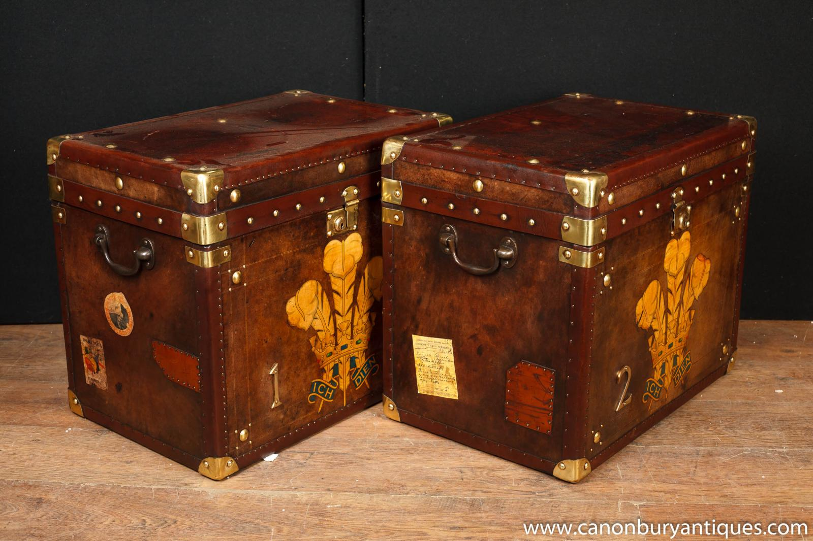 Pair English Steamer Trunk Luggage Cases Side Coffee Tables Ebay