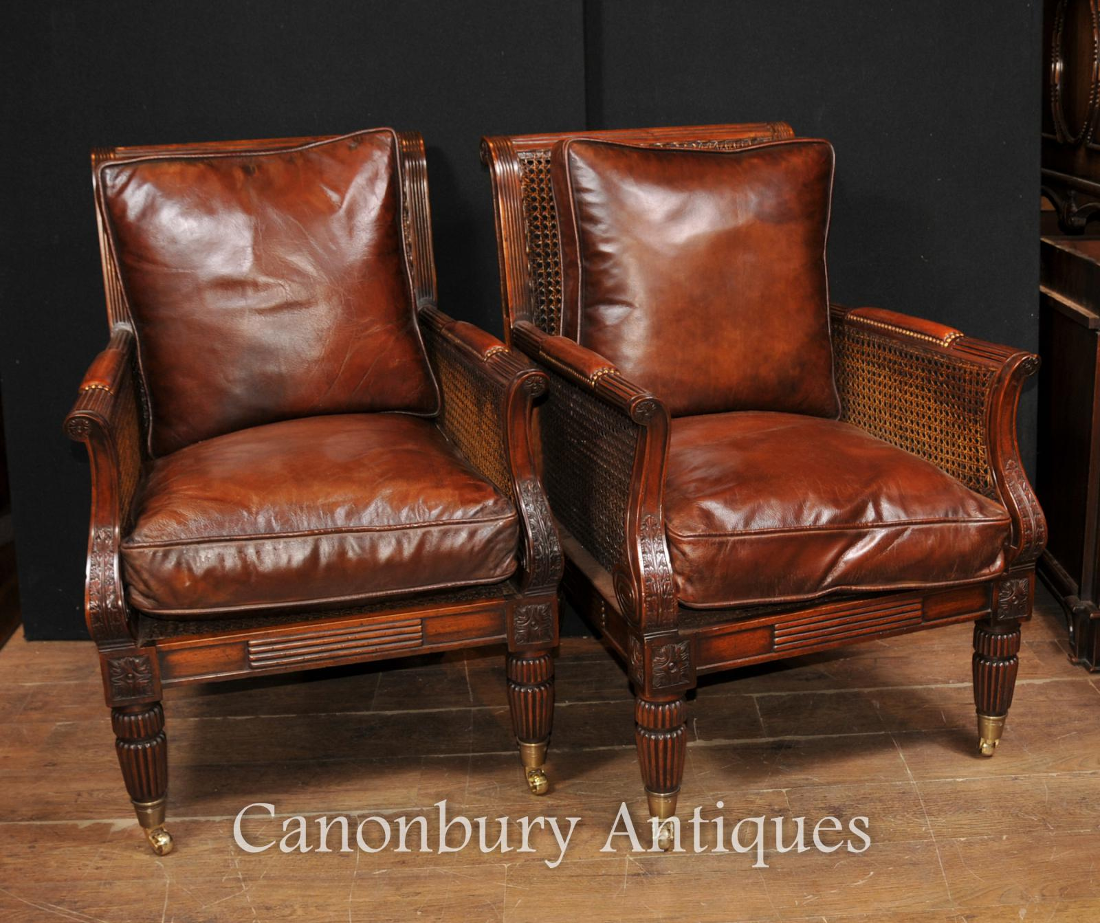 Pair french bergere mahogany arm chairs sofa chair ebay for Table bergere