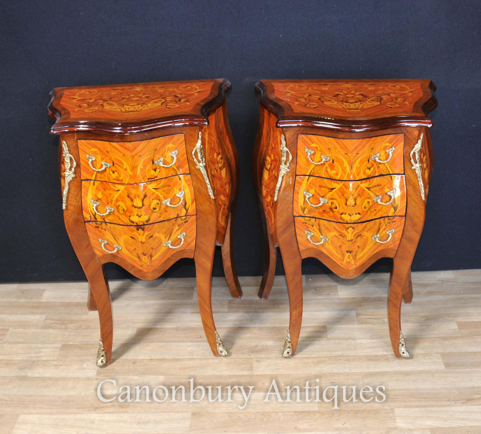 Pair french empire bombe chests drawers bedside tables for French nightstand bedside table