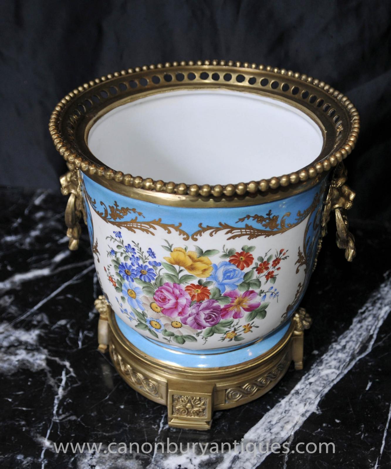 Details about Pair French Sevres Porcelain Floral Planters Cache Pots