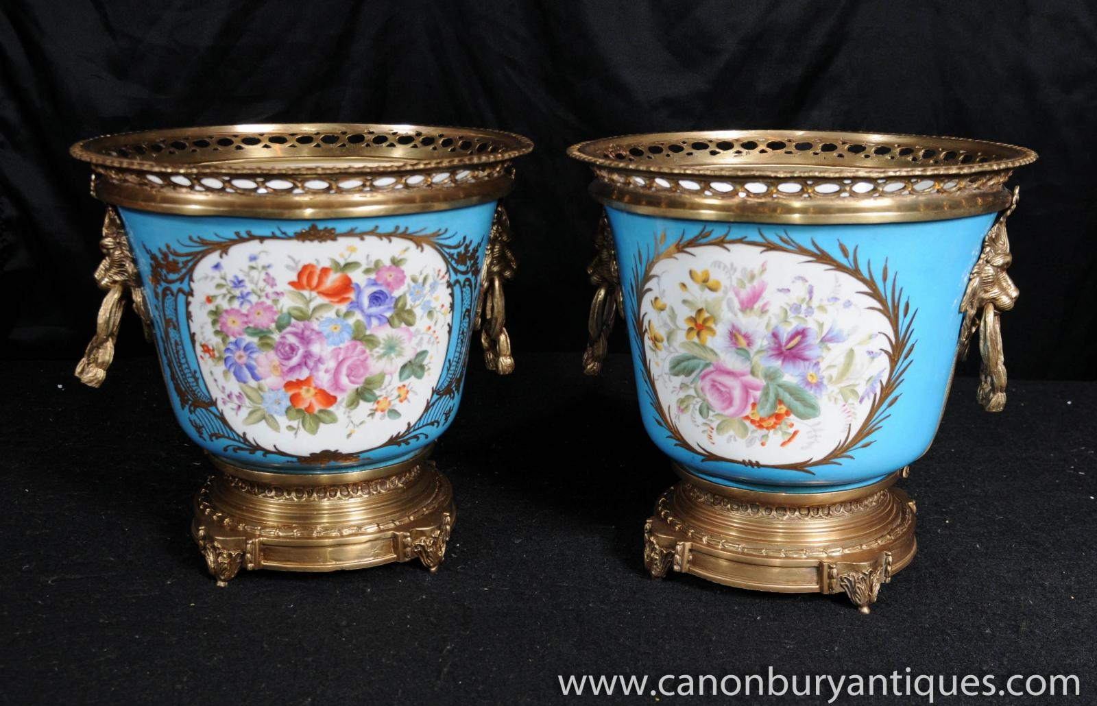 Details about Pair German Dresden Porcelain Cache Pots Planters Urns