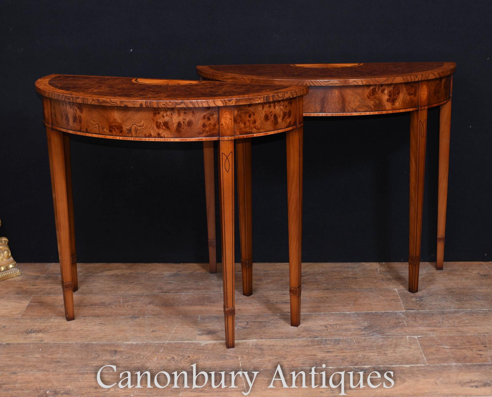 Pair Regency Adams Walnut Console Tables Demi Lune   eBay