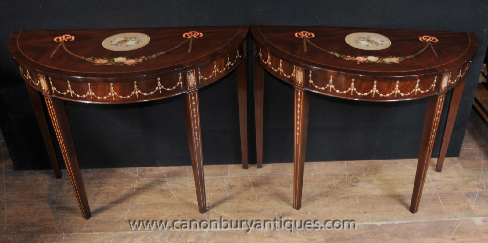 Pair Sheraton Painted Console Tables In Mahogany Regency Furniture Ebay