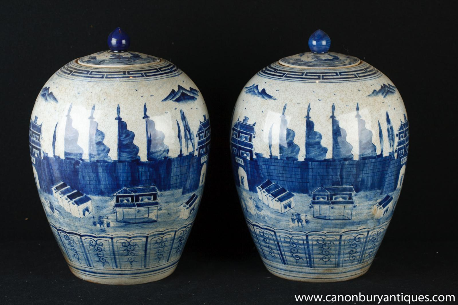 Pair Yuan Blue And White Chinese Porcelain Lidded Urns