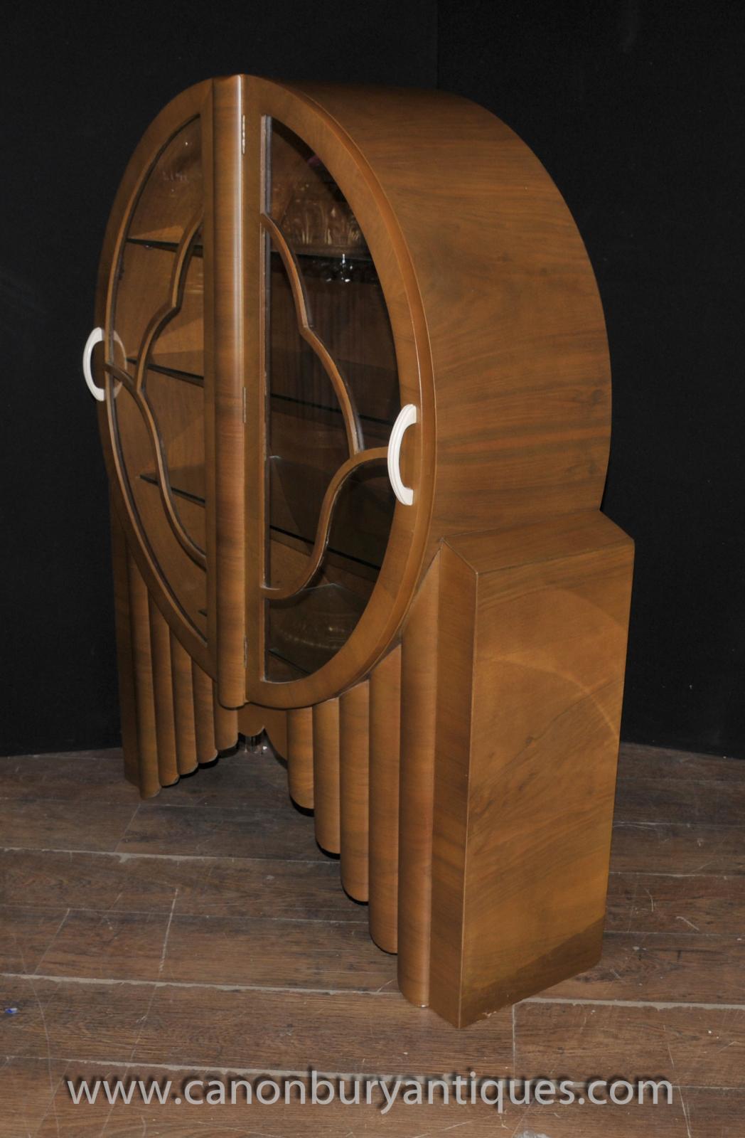 Period art deco bookcase walnut furniture glass fronted for Art deco period