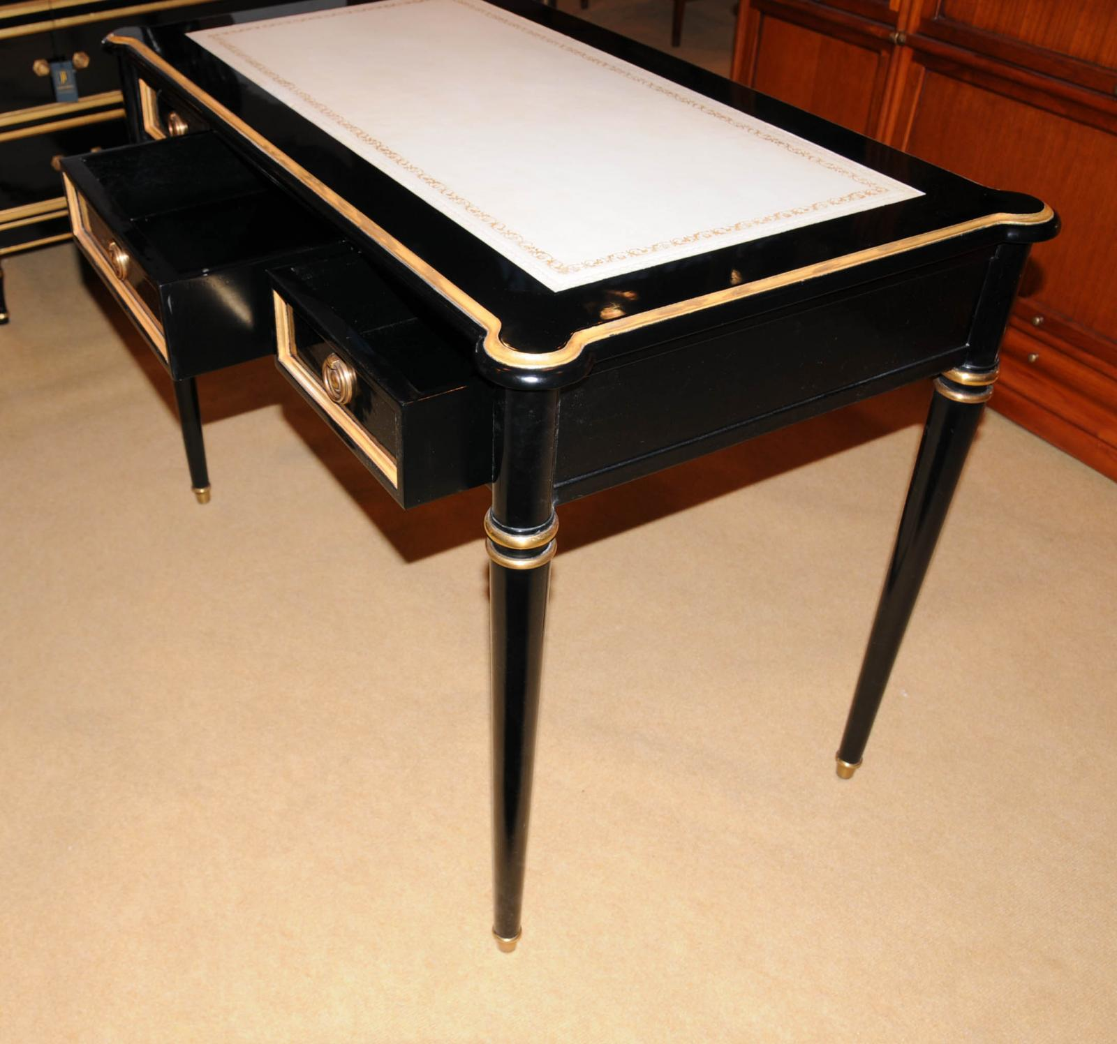 Amazing photo of Regency Black Lacquer Writing Desk Chair Set on PopScreen with #AD3C07 color and 1600x1496 pixels