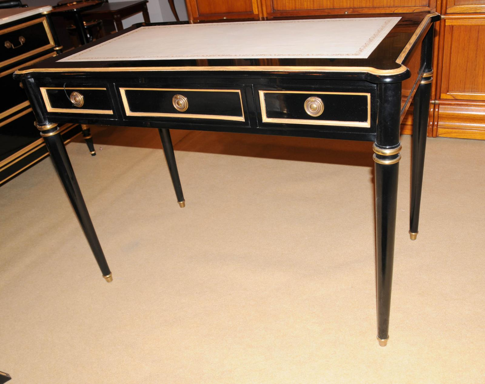 black writing desk Used (normal wear) - in excellent condition black a-frame writing desk / computer desk / office desk measures 395 length by 235 depth by 2875 height due to.