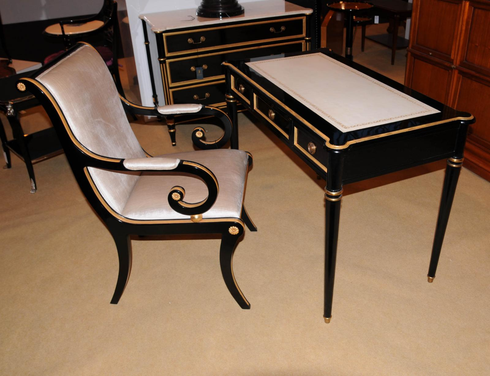 Regency Black Lacquer Writing Desk Chair Set Potters Bar
