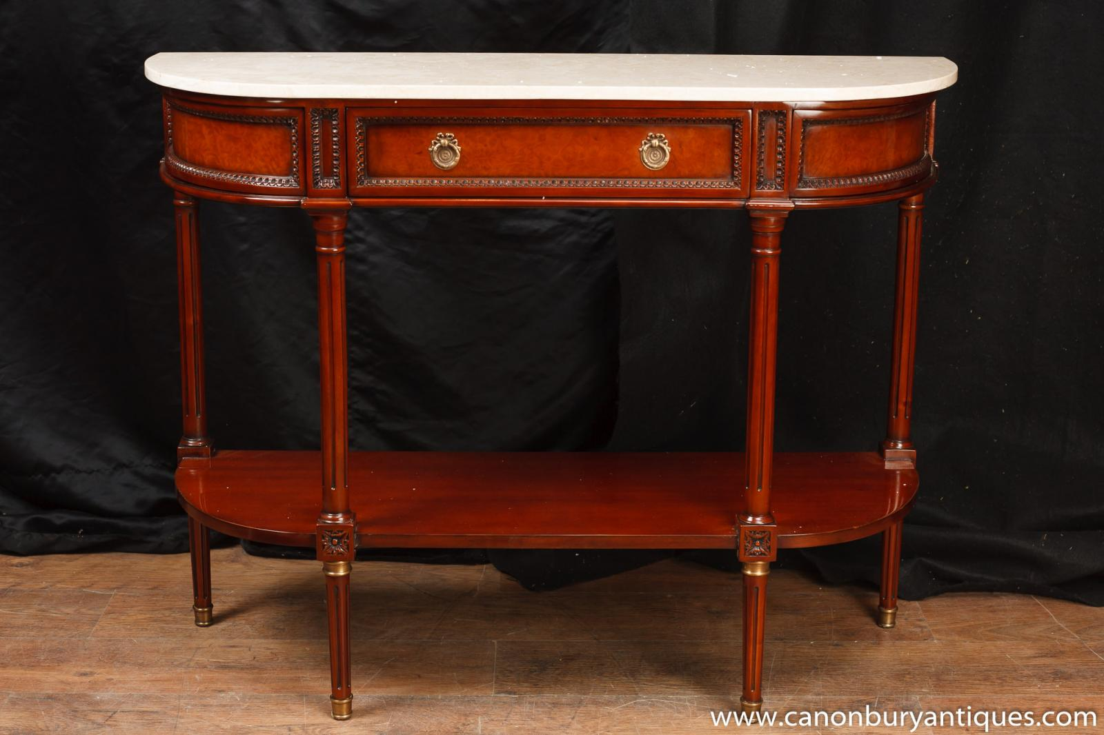 Foyer Table With Marble Top : Regency console table mahogany marble top sofa hall tables