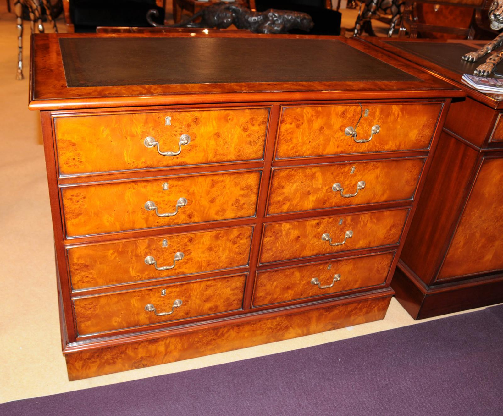 Walnut Wood Furniture ~ Regency double filing cabinet burl walnut chest drawers
