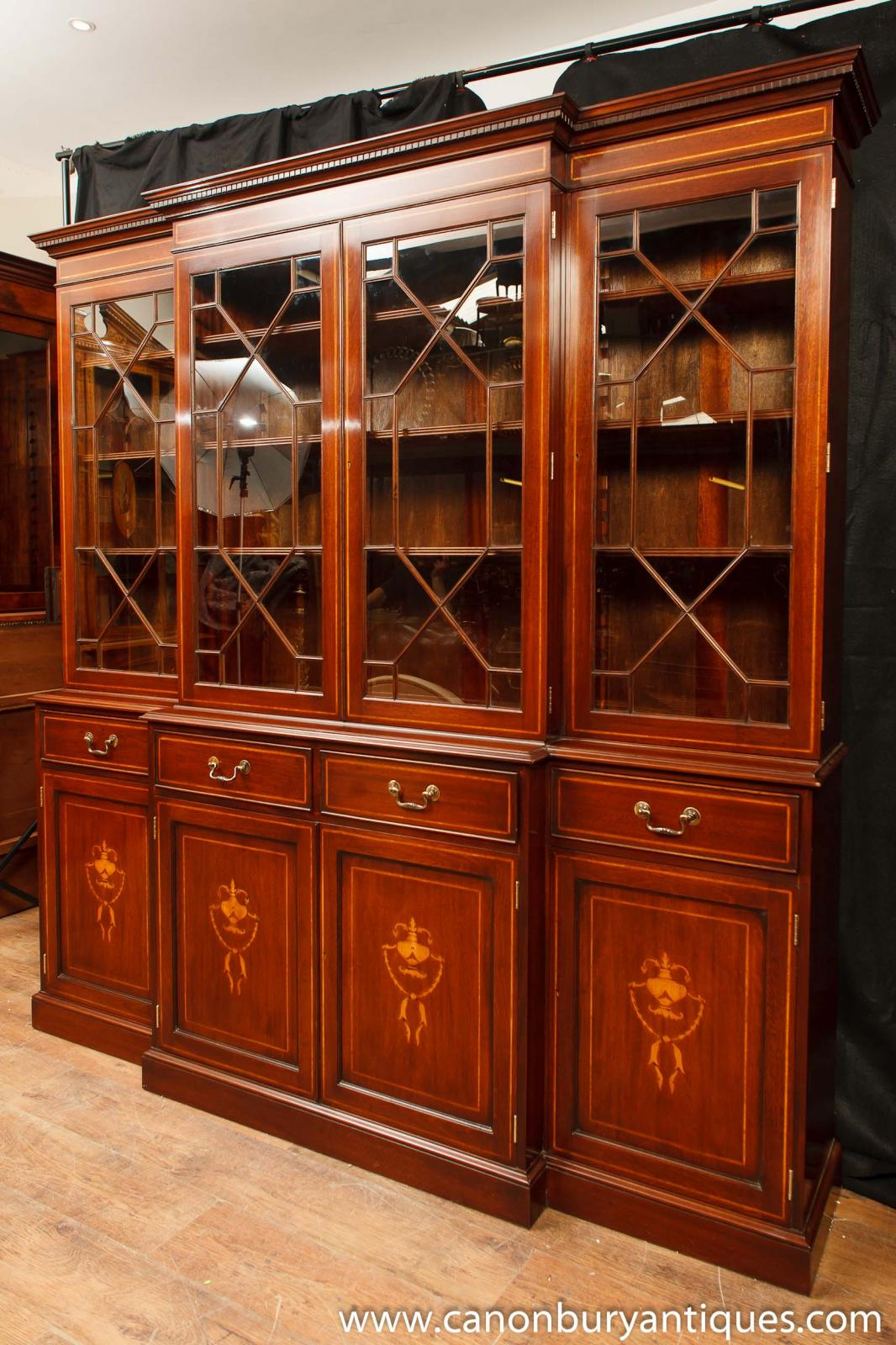 Regency Mahogany Breakfront Bookcase Sheraton Inlay  : Regency20Mahogany20Breakfront20Bookcase20Sheraton20Inlay20Bookcases 1372394589 zoom 77 from www.ebay.co.uk size 1066 x 1600 jpeg 243kB