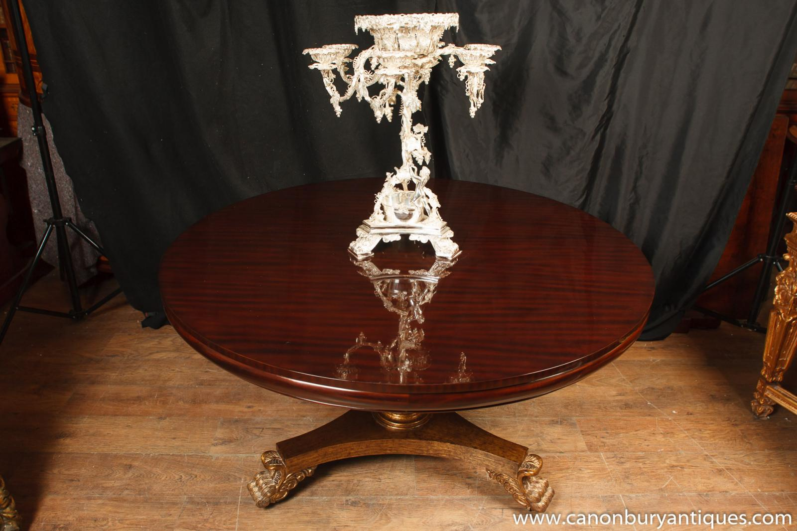 Regency mahogany centre dining table gilt base center tables for Cuir center table basse