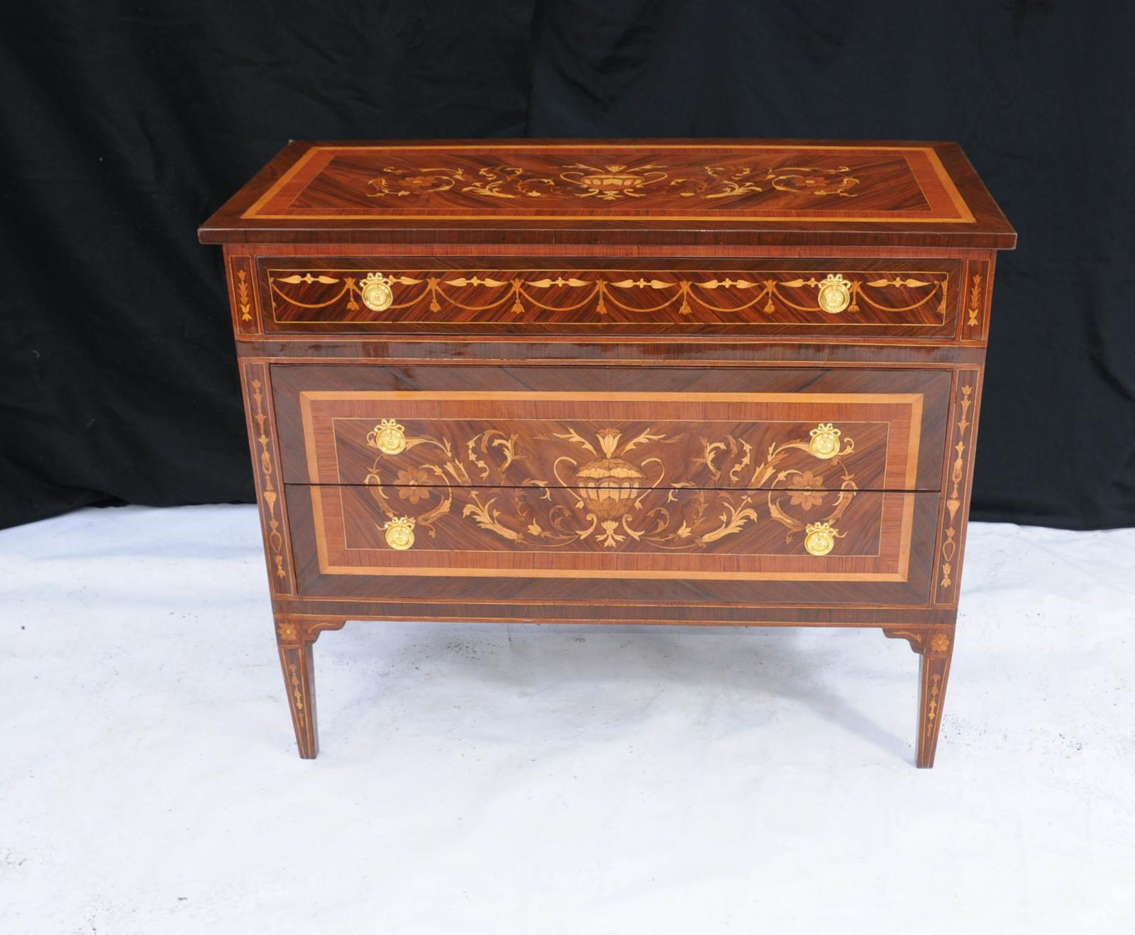 Regency Sheraton Chest Drawers Commode Marquetry Inlay Furniture Ebay