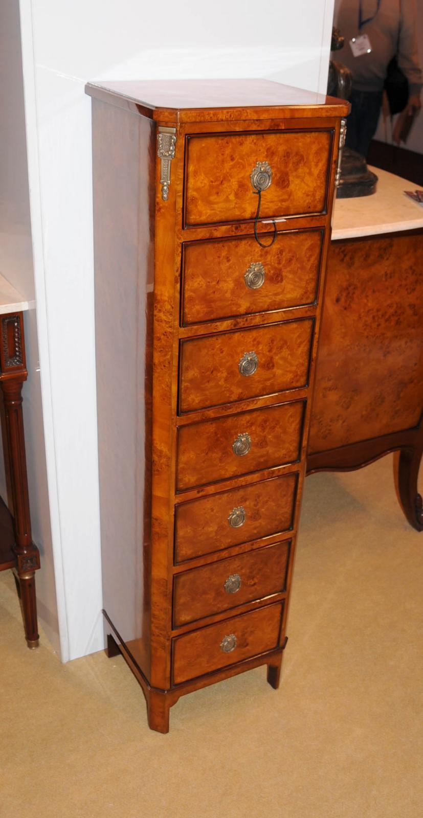 regency walnut lingerie commode chest drawers tall boy ebay. Black Bedroom Furniture Sets. Home Design Ideas