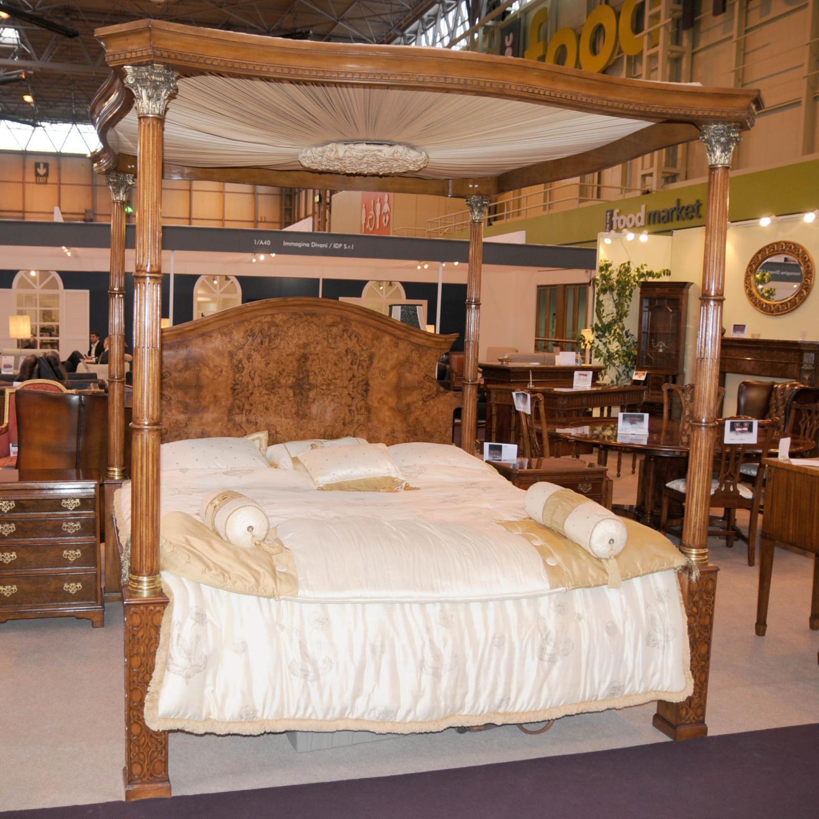 Regency Walnut Queen Size Four Poster Bed Bedroom