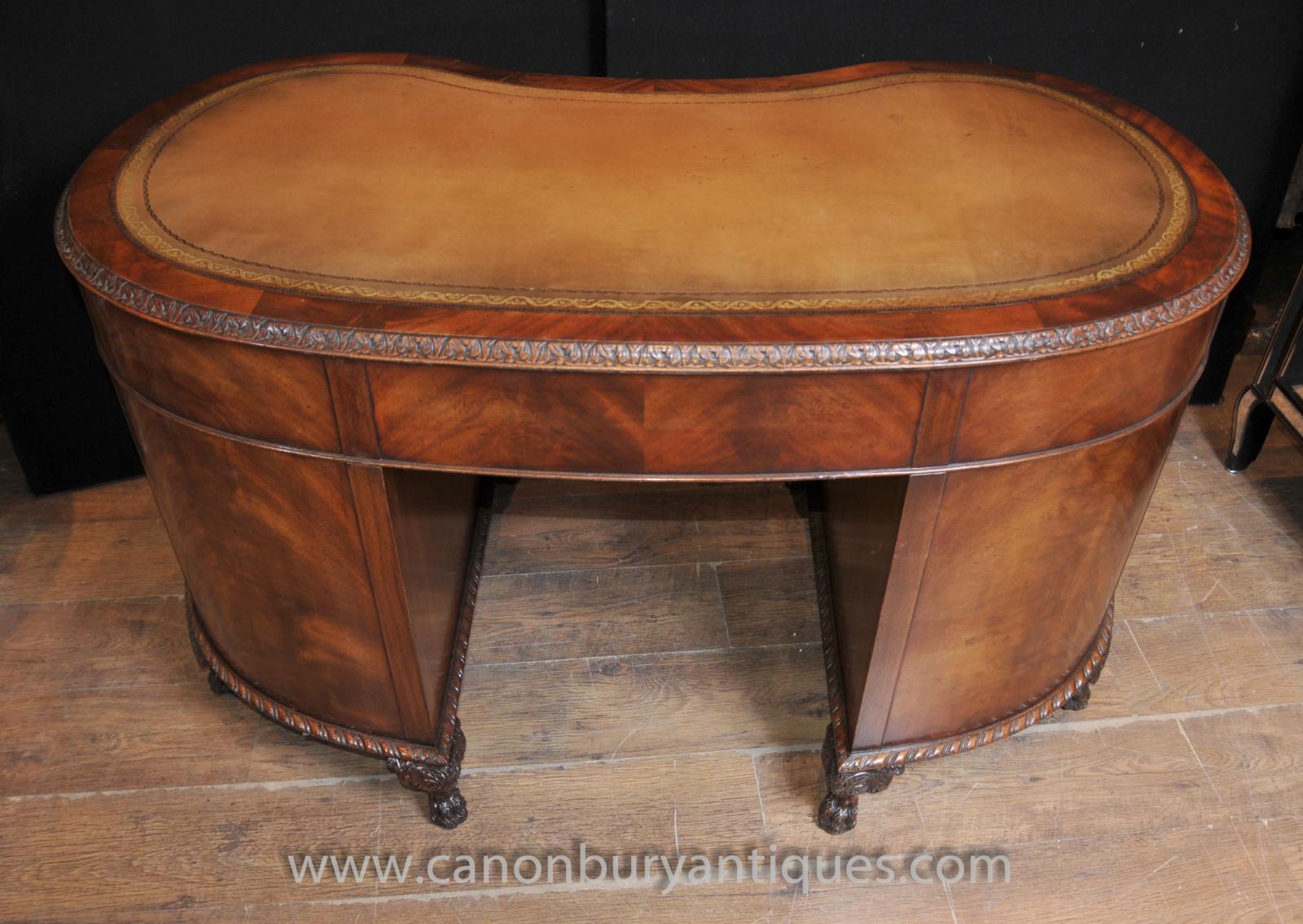 Regency antique kidney desk writing table mahogany for Mahogany furniture