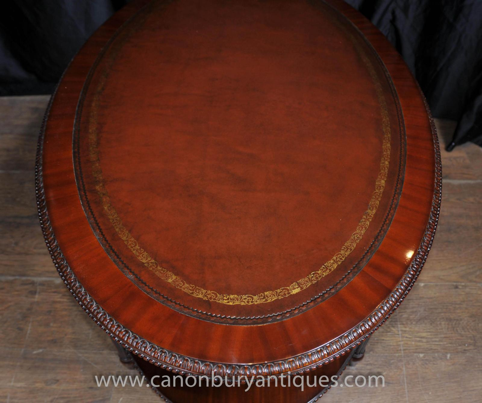 Coffee Table With Leather Top: Regency Oval Coffee Table Mahogany Leather Top Tables