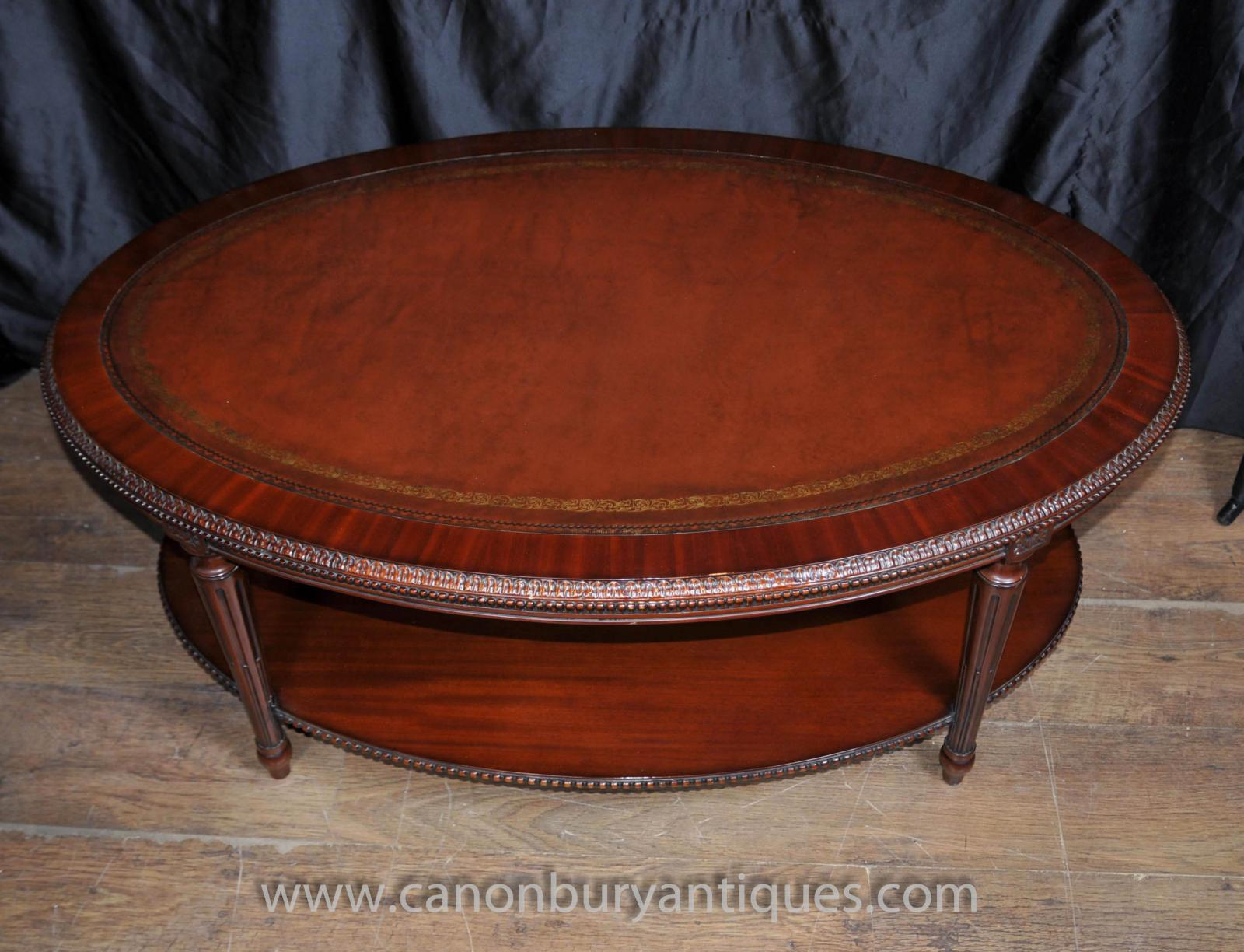 Regency oval coffee table mahogany leather top tables ebay Coffee table with leather top
