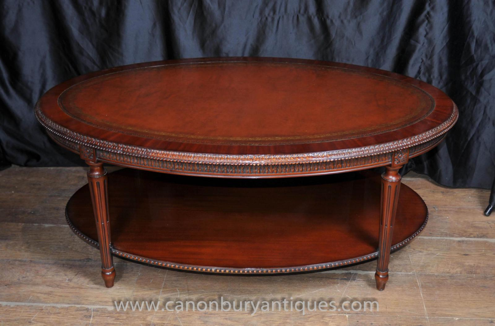 Regency oval coffee table mahogany leather top tables ebay piece description gorgeous regency style coffee table geotapseo Images
