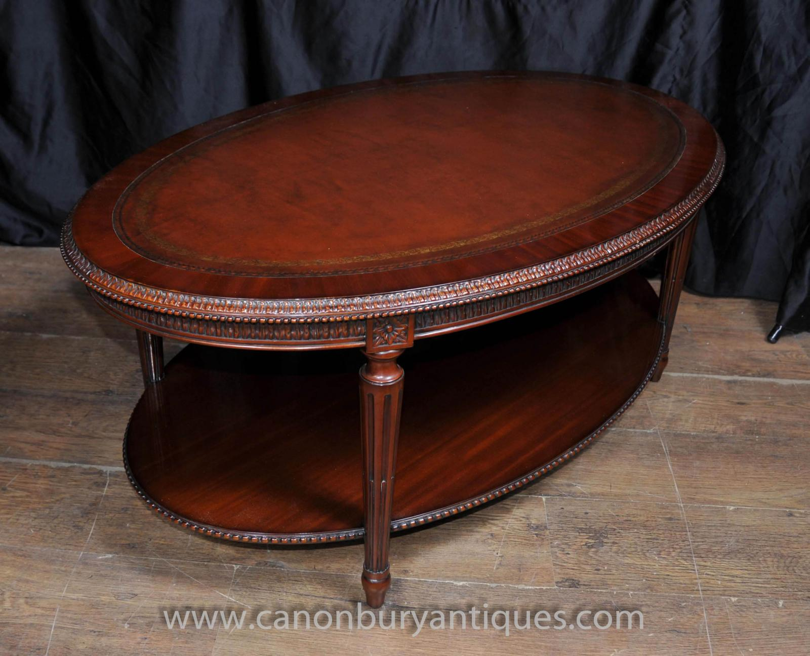 details about regency oval coffee table mahogany leather top tables