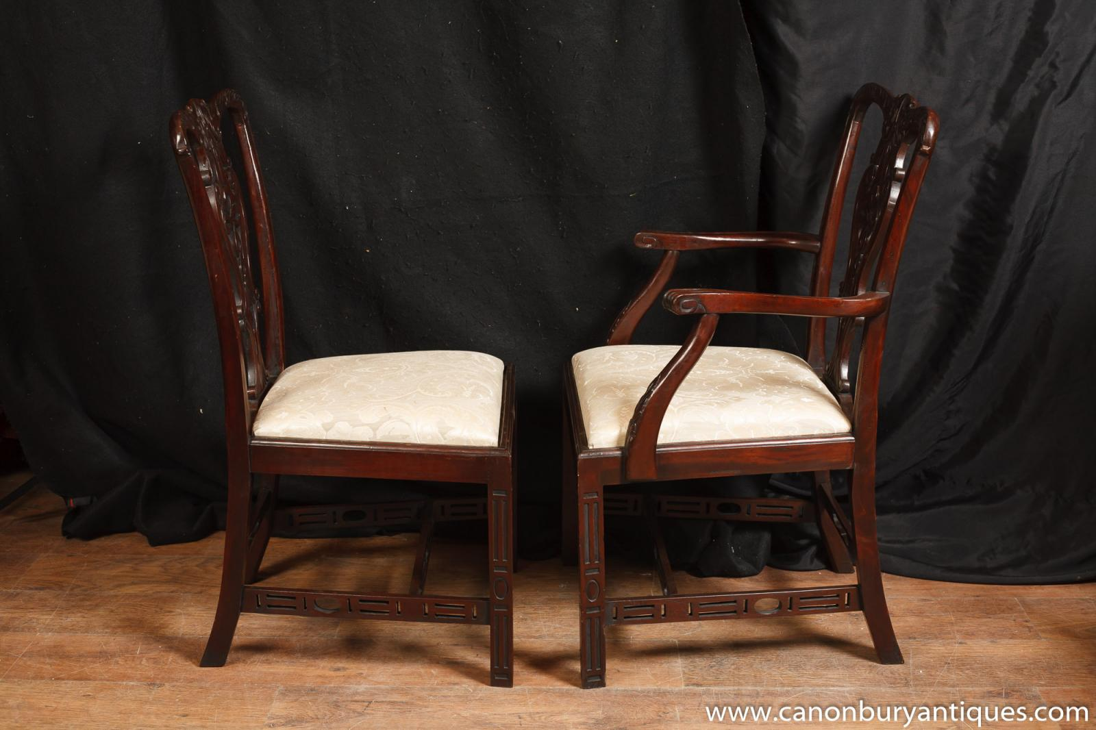 Set 10 mahogany victorian dining chairs gothic chair diner for Victorian gothic chair