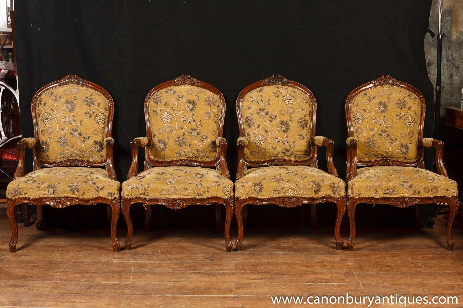 Set 4 Victorian Arm Chairs Woven Fabric Upholstery Arm